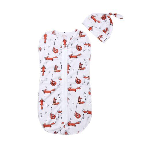 2Pcs Baby Sleeping Bags Soft Swaddle Muslin Blanket Printed Newborn Infant Sleeping Bags Zipper Wrap Swaddling 1