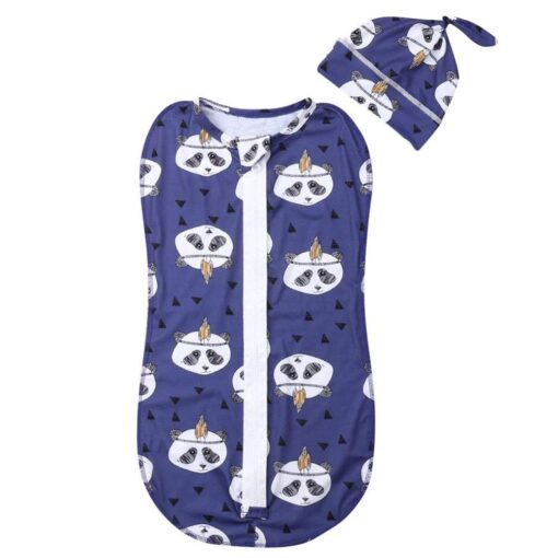 2Pcs Baby Sleeping Bags Soft Swaddle Muslin Blanket Printed Newborn Infant Sleeping Bags Zipper Wrap Swaddling 5
