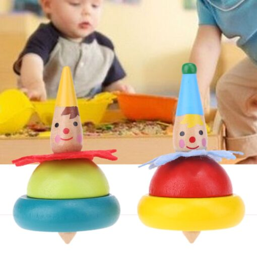 2Pcs Wooden Clown Toy Baby Rotate Children Tumbler Grow Intelligence Kids Classic Gyro Educational Wooden Spinning 1