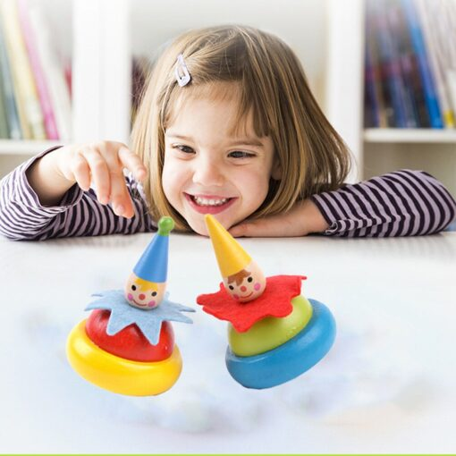 2Pcs Wooden Clown Toy Baby Rotate Children Tumbler Grow Intelligence Kids Classic Gyro Educational Wooden Spinning 2