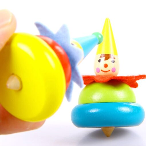 2Pcs Wooden Clown Toy Baby Rotate Children Tumbler Grow Intelligence Kids Classic Gyro Educational Wooden Spinning 5