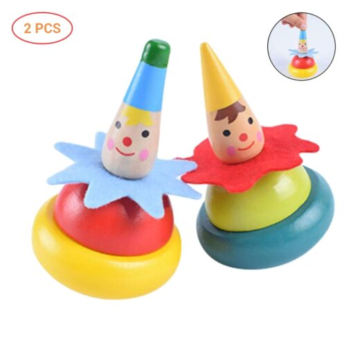 2Pcs Wooden Clown Toy Baby Rotate Children Tumbler Grow Intelligence Kids Classic Gyro Educational Wooden Spinning