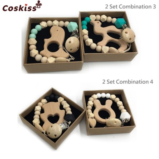 2pc Baby Teether Organic Wooden Animal Teether Natural Teething Grasping Toy Silicone Bead Toddler Teether Newborn 1