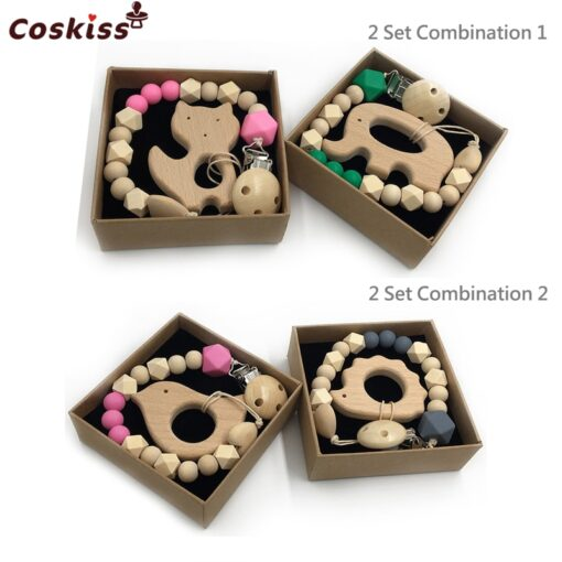 2pc Baby Teether Organic Wooden Animal Teether Natural Teething Grasping Toy Silicone Bead Toddler Teether Newborn