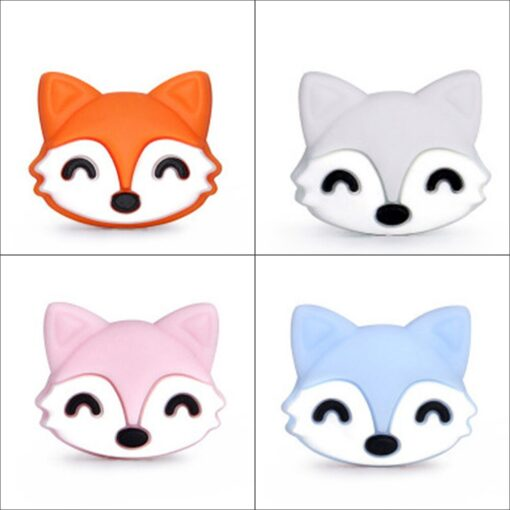 2pcs Baby Animal Food grade Silicone Teethers baby molars Baby Teething Product Accessories For Pacifier Chains 4