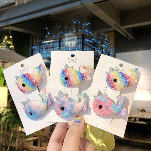 2pcs Baby Clip Cute Animal Hairpin Children Color Hairclip Kids Headwear Colorful Rainbow Hair Accessories Dropshipping 3