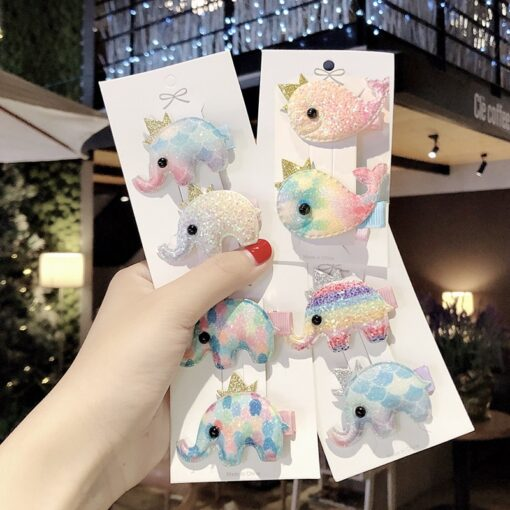 2pcs Baby Clip Cute Animal Hairpin Children Color Hairclip Kids Headwear Colorful Rainbow Hair Accessories Dropshipping 4