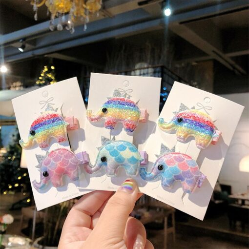 2pcs Baby Clip Cute Animal Hairpin Children Color Hairclip Kids Headwear Colorful Rainbow Hair Accessories Dropshipping 5