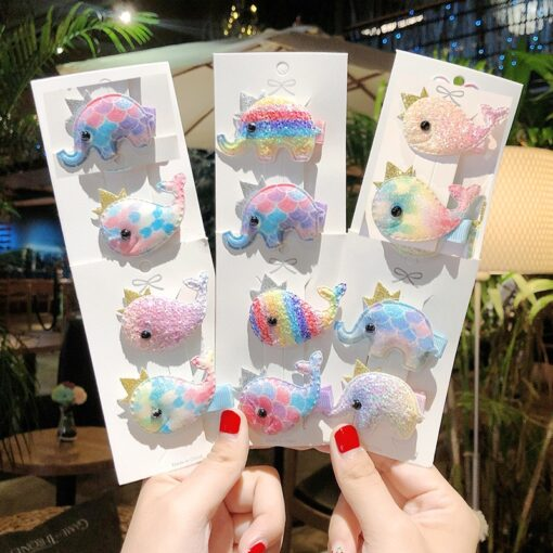 2pcs Baby Clip Cute Animal Hairpin Children Color Hairclip Kids Headwear Colorful Rainbow Hair Accessories Dropshipping