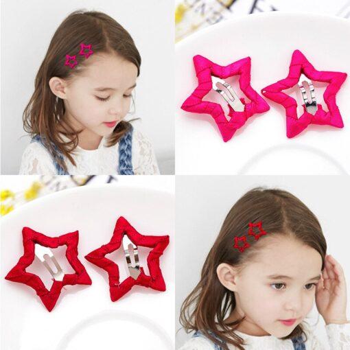 2pcs Hair Cute Pentagram Star Clip Baby Girl Hairpin Children Solid Color Kids Headwear Hair Accessories 3