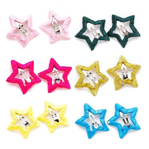 2pcs Hair Cute Pentagram Star Clip Baby Girl Hairpin Children Solid Color Kids Headwear Hair Accessories 4