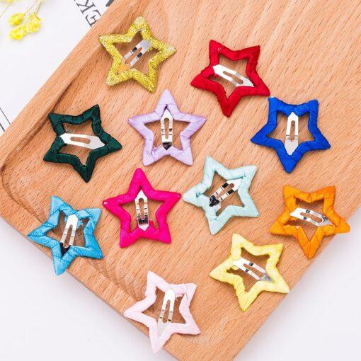 2pcs Hair Cute Pentagram Star Clip Baby Girl Hairpin Children Solid Color Kids Headwear Hair Accessories 5