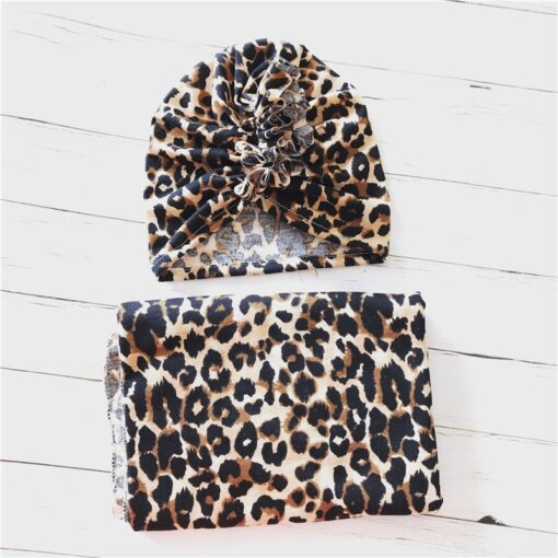2pcs set Baby Swaddle Wrap Baby Blankets Newborn Cotton Swaddle Wrap Headband Baby Hat Turban Beanie 4