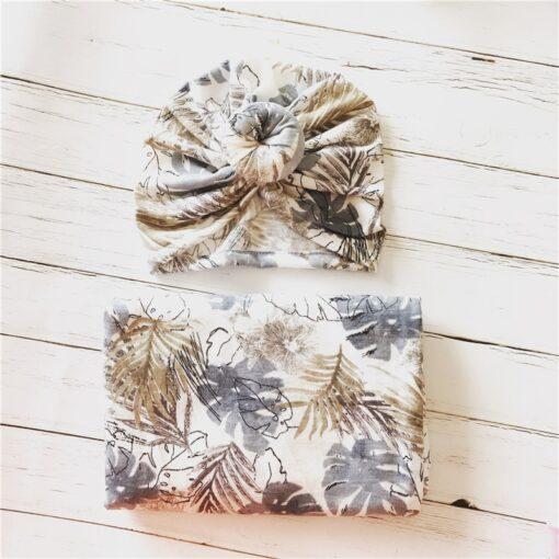 2pcs set Baby Swaddle Wrap Baby Blankets Newborn Cotton Swaddle Wrap Headband Baby Hat Turban Beanie 5