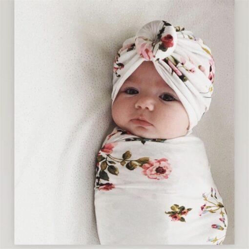 2pcs set Baby Swaddle Wrap Baby Blankets Newborn Cotton Swaddle Wrap Headband Baby Hat Turban Beanie