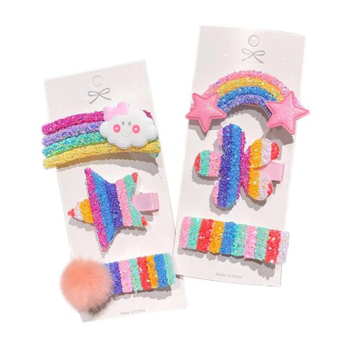 3 5pcs Children Cute Color Hairclip Colorful Rainbow Clip Hair Accessories Fashion Baby Girl Hairpin Dropshipping 1