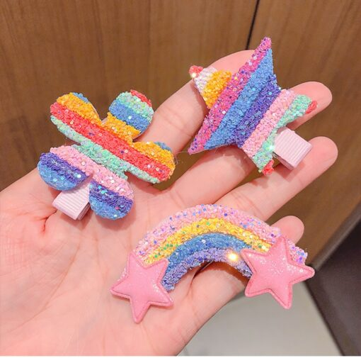 3 5pcs Children Cute Color Hairclip Colorful Rainbow Clip Hair Accessories Fashion Baby Girl Hairpin Dropshipping 4