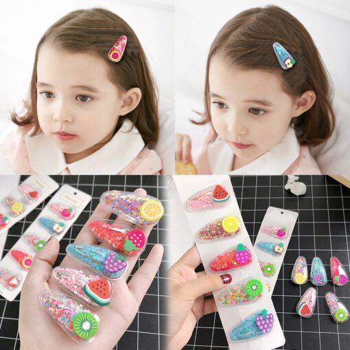 3 5pcs Cute Fruit Hairclip Princess Baby Girl Hairpin Kids Headwear Color Clip Headdress Hair Accessories 3