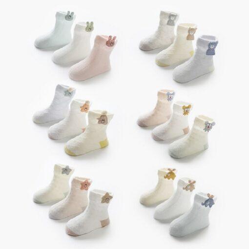 3 Pairs lot Baby Socks Mesh Socks Thin Cotton Models Boys Girls Socks Boneless Suture Newborn 3