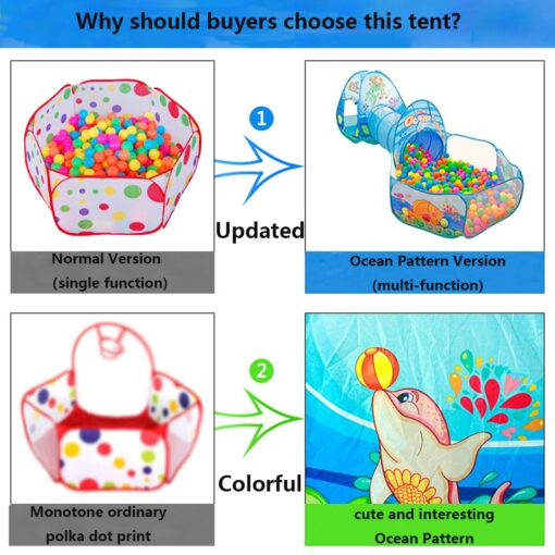 3 in 1 Ocean Children s Tent House Toy Ball Pool Portable Children Tipi Tents with 1