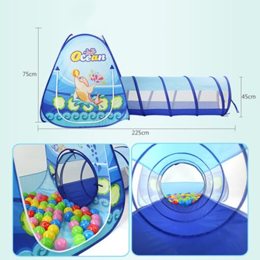 3 in 1 Ocean Children s Tent House Toy Ball Pool Portable Children Tipi Tents with 2