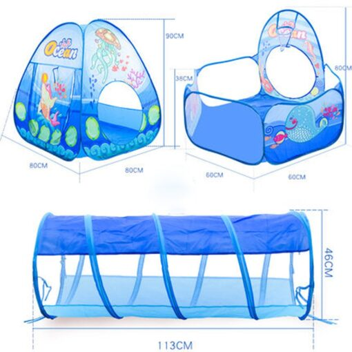 3 in 1 Ocean Children s Tent House Toy Ball Pool Portable Children Tipi Tents with 5