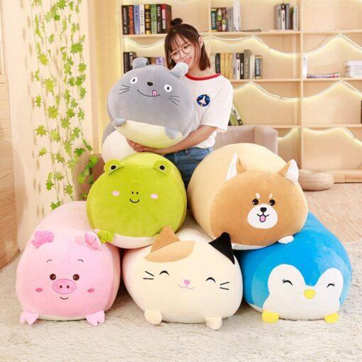 30 60 90cm Soft Animal Cartoon Pillow Cushion Cute Fat Dog Cat Totoro Penguin Pig Frog