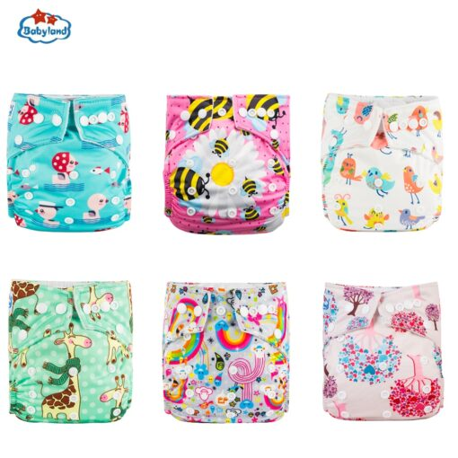 30 Discount Promotion New Babyland Reusable Diapers 6pcs Set ECO Friendly Cloth Nappy Cover Washable Pocket 1
