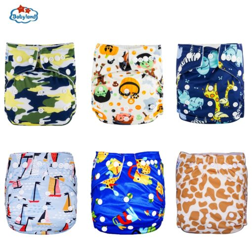 30 Discount Promotion New Babyland Reusable Diapers 6pcs Set ECO Friendly Cloth Nappy Cover Washable Pocket 3