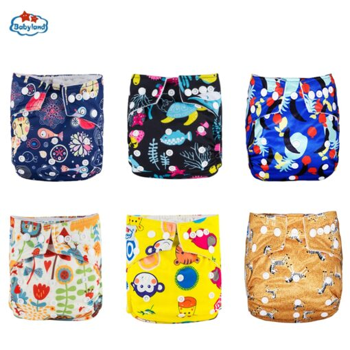 30 Discount Promotion New Babyland Reusable Diapers 6pcs Set ECO Friendly Cloth Nappy Cover Washable Pocket 4