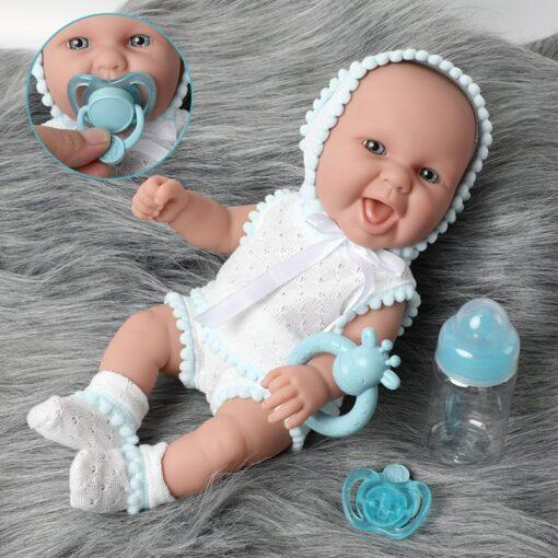30cm Simulation lifelike bebe reborn doll 12 inch waterproof Silicone lovely newborn baby Feeding bottle Fashion
