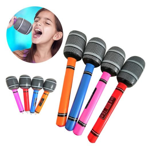 35 80cm Funny Inflatable Microphone Toy Cool Party Stage Decorations Prop Blow Up Singing Balloon Toys 2