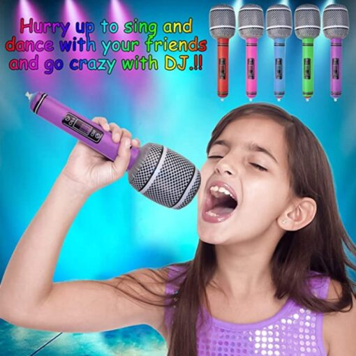 35 80cm Funny Inflatable Microphone Toy Cool Party Stage Decorations Prop Blow Up Singing Balloon Toys
