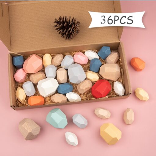 36Pc Children Wooden Colored Stone Jenga Building Block Educational Toy Wooden Stone for kids Stacking Game