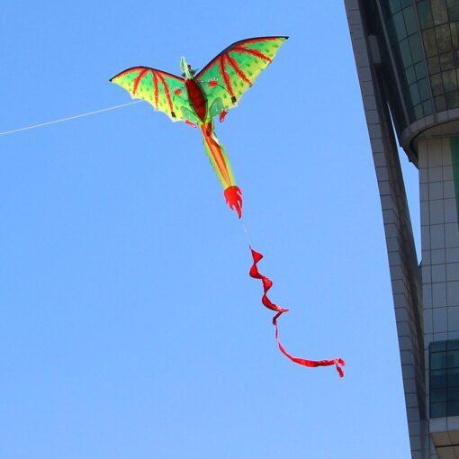 3D Dragon 100M Kite Flying Single Line With Tail Kites Outdoor Children Fun Toy Kite Family 4