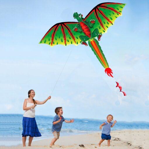 3D Dragon 100M Kite Flying Single Line With Tail Kites Outdoor Children Fun Toy Kite Family 5