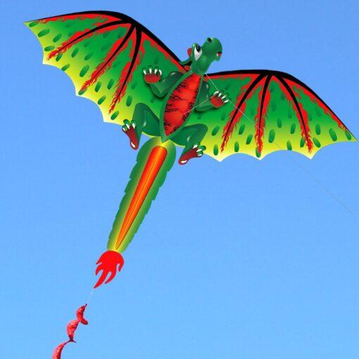 3D Dragon 100M Kite Flying Single Line With Tail Kites Outdoor Children Fun Toy Kite Family