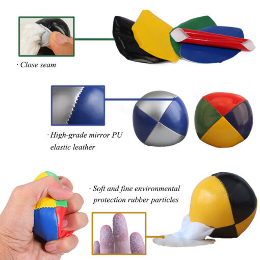 3PCS Net Set Suit Professional Juggling Ball Acrobatics Toss Ball Educational Toy Children Fun Sports Pu 4