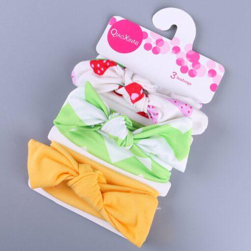 3Pcs Elastic Children Headband Cute Floral Bow baby headbands Girl Hair accessories Rabbit Ears hair bands 1