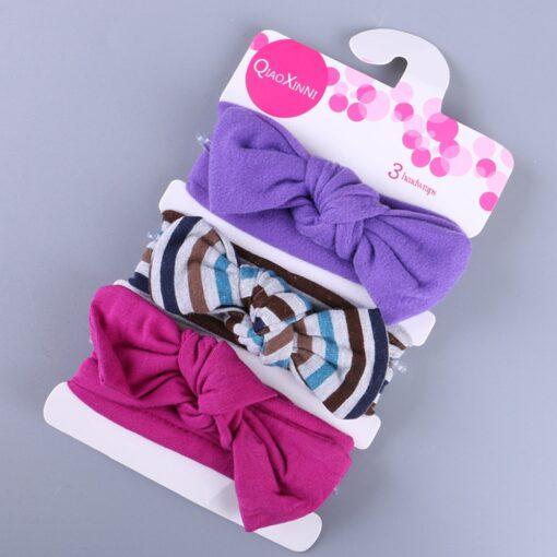3Pcs Elastic Children Headband Cute Floral Bow baby headbands Girl Hair accessories Rabbit Ears hair bands 3