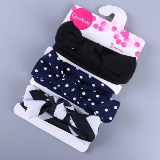 3Pcs Elastic Children Headband Cute Floral Bow baby headbands Girl Hair accessories Rabbit Ears hair bands 4