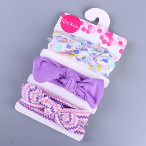 3Pcs Elastic Children Headband Cute Floral Bow baby headbands Girl Hair accessories Rabbit Ears hair bands