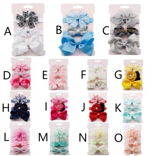 3Pcs Kids Elastic Flower Headband Headbands Hair Girls Baby Bowknot Hairband Baby Girl Accessories Set Dropshipping 5