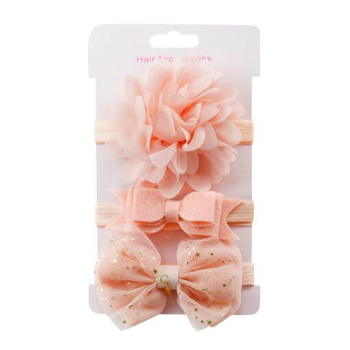 3Pcs Kids Elastic Flower Headband Headbands Hair Girls Baby Bowknot Hairband Baby Girl Accessories Set Dropshipping