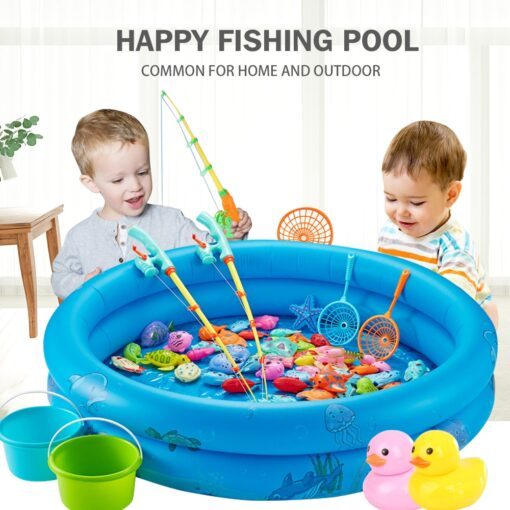 3WBOX Children Boy girl fishing toy set suit magnetic play water baby toys fish square hot 1