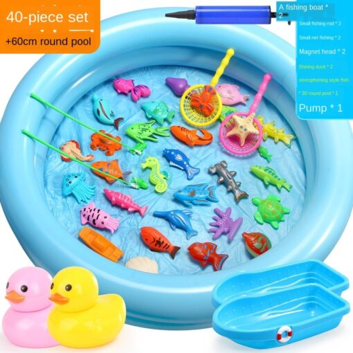 3WBOX Children Boy girl fishing toy set suit magnetic play water baby toys fish square hot 2