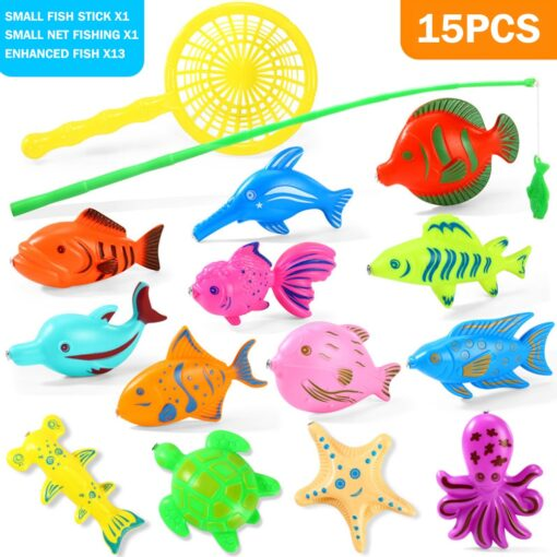 3WBOX Children Boy girl fishing toy set suit magnetic play water baby toys fish square hot 4