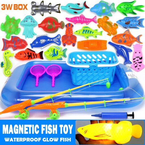 3WBOX Children Boy girl fishing toy set suit magnetic play water baby toys fish square hot