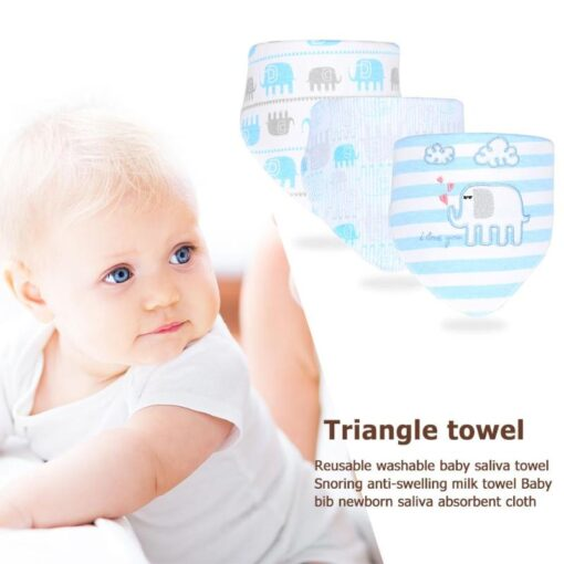 3pcs Set Newborn Baby Saliva Towel Adjustable Infant Bibs Burp Cloth Reusable Baby Triangle Bibs Washable 2