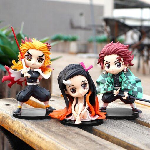 3pcs set Q ver Kimetsu no Yaiba Nezuko Tanjirou Zenitsu Giyuu Inosuke PVC Action Figure Anime 1